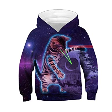 b452bbce8f1e JJCat Unisex Kids Long Sleeve 3D Digital Print Space Cat Pullover Hoodies  (XS