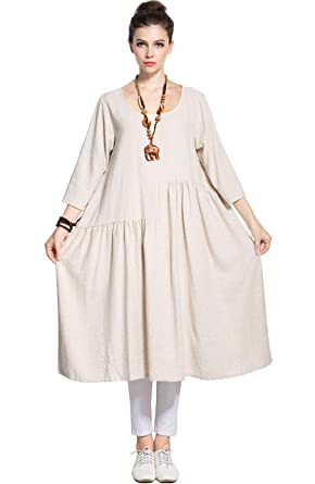 d075ceb7d5 Anysize Soft Linen Cotton A-line Dress Plus Size Dress Spring Summer Dress  Y90 Beige