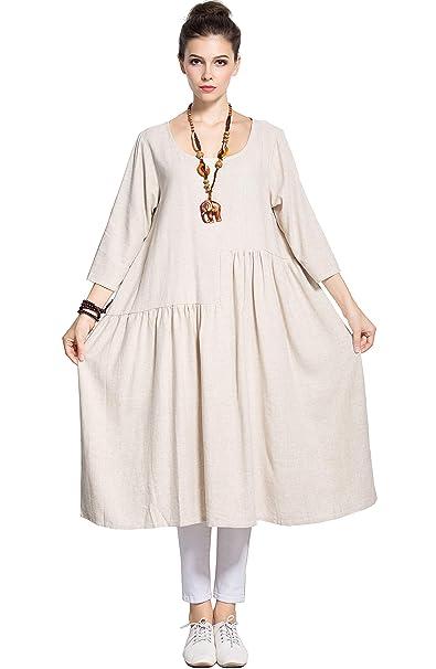 Anysize Soft Linen Cotton A-line Dress Plus Size Dress Spring Summer Dress  Y90