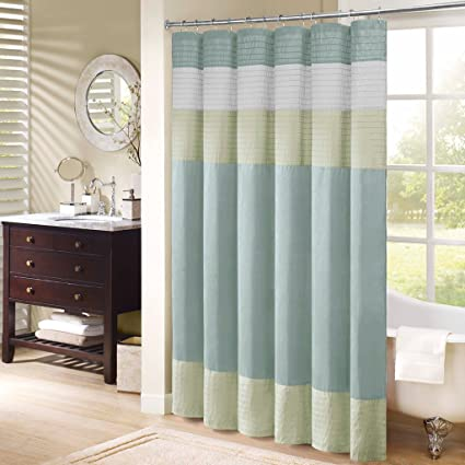 Madison Park Amherst Striped Fabric Aqua Shower CurtainPieced Transitional Simple Curtains For Bathroom