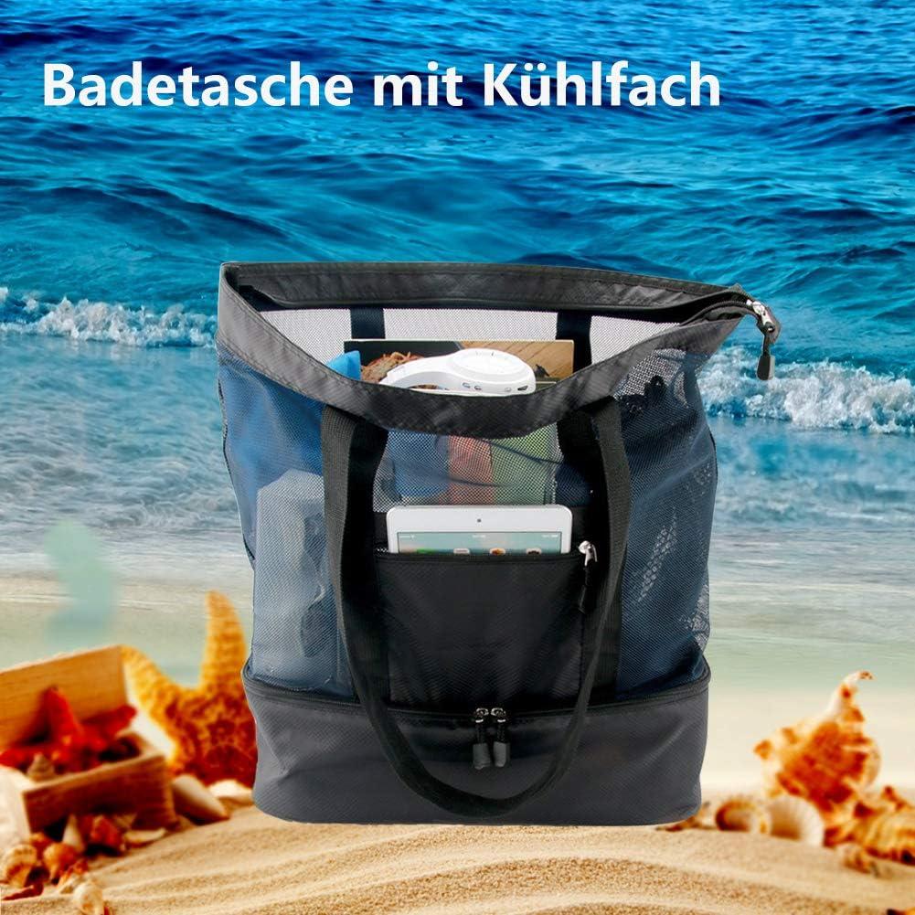 grande capacit/é XXL avec dimensionnement /étanche du plateau de refroidissement id/éal pour les vacances avec enfants Sac de plage 51 x 41 x 17 cm