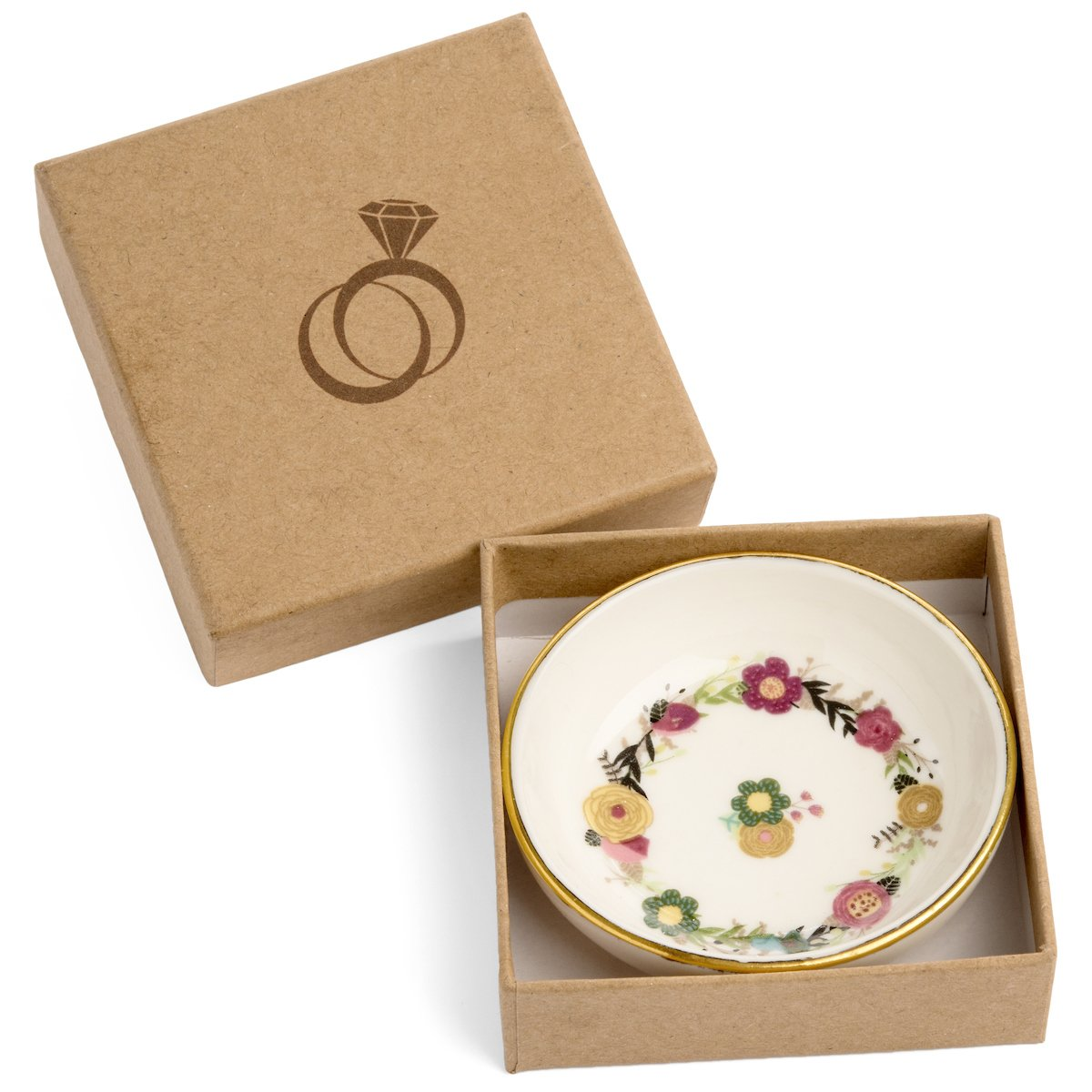 SPIRA Designs Floral Jewelry Ring Dish in Gift Box