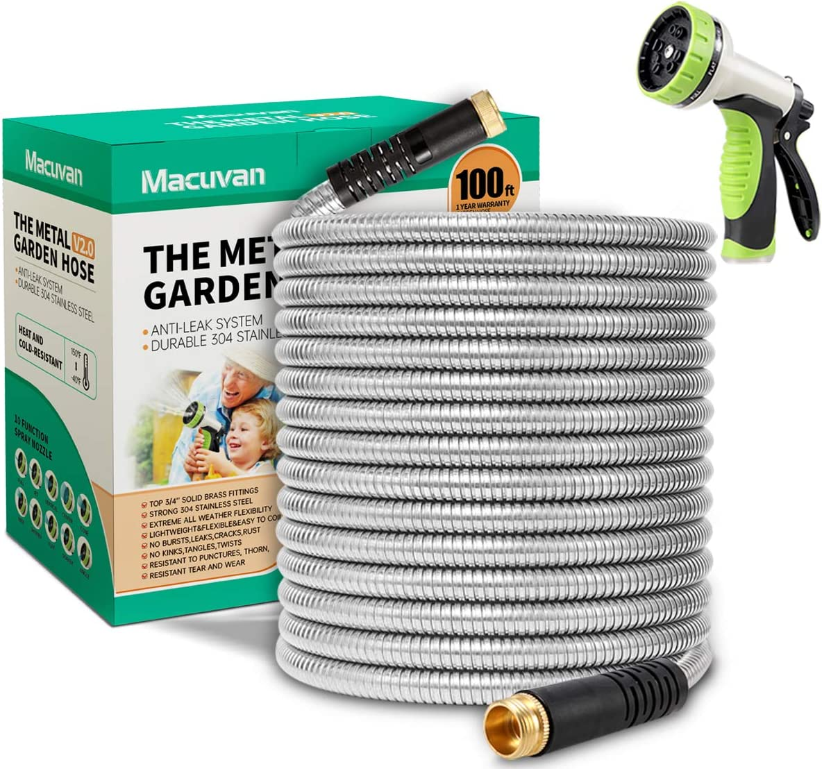Macuvan Flexible Metal Garden Hose 100ft-Heavy Duty Water Hose with Durable 304 Stainless Steel and 10 Way Spray Nozzle-Strong 3/4'' Solid Brass Fittings-Outdoor Yard No Kink Lightweight Hose Pipe