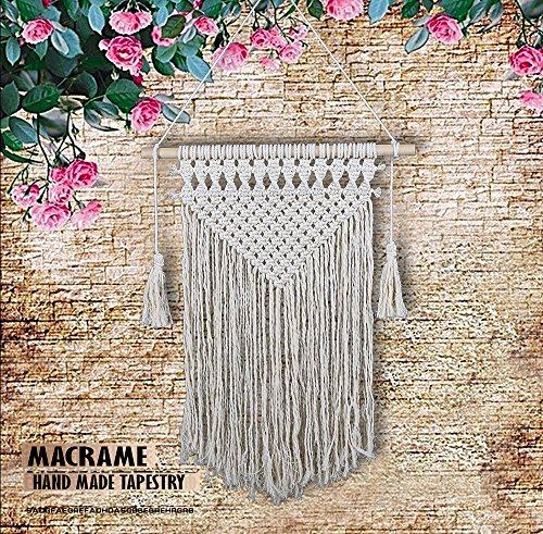 Macrame Wall Hanging Woven Tapestry | Decorative Bohemian Fringe Garland Banner - BOHO Shabby Chic Bohemian Wall Decor - Apartment Dorm Living Room Bedroom Baby Nursery Art - Wedding Party Backdrop