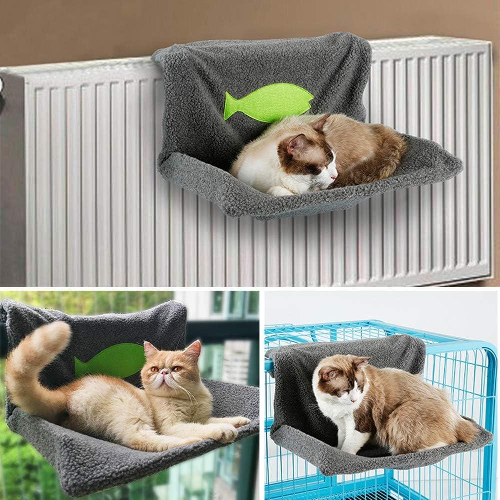 EMVANV Cama de radiador para Gatos y Perros, cálida, con Forro Polar, Cesta para Colgar Hamaca con Marco Plegable para un fácil Almacenamiento: Amazon.es: Productos para mascotas