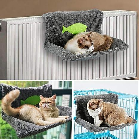 EMVANV Cama de radiador para Gatos y Perros, cálida, con Forro Polar, Cesta