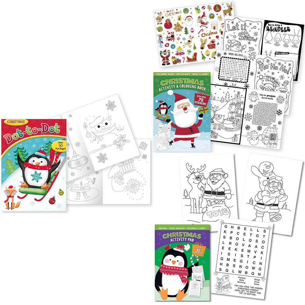 Dot to Dot 140 Stickers IG Christmas Children Activity Book Assortment Set of 3 with Over 100 Pages of Fun Coloring