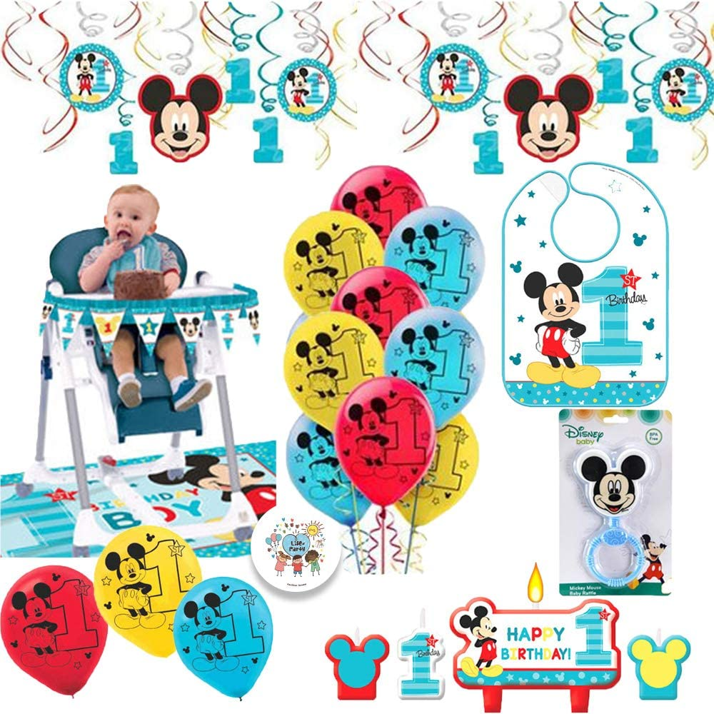 Amazon Com Mickey Mouse Fun To Be One First Birthday Party Supplies And Decorations Pack With 1st Birthday Mickey Bib High Chair Kit Balloons Rattle Birthday Candles And Exclusive Pin By Another Dream