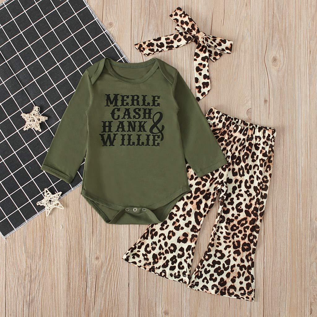 KFR4rh Motivo Leopardato Vestiti per neonata con Lettere a Maniche Lunghe