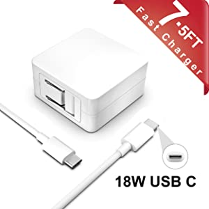 18W USB-C Charger for 2020 2018 iPad Pro 12.9 inch (3rd 4th Generation) 11 Inch (1rd 2nd Generation) New Tablet with 7.5ft Type C AC Power Supply Adapter Cord Charging Cable