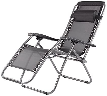 Charmant Elite Zero Gravity Relax Recliner Folding Chair (Black)