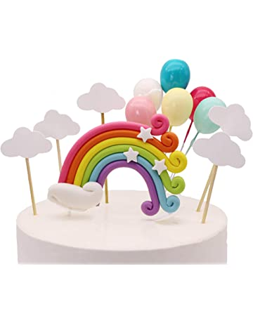 e14329978 Colorful Rainbow Cake Topper Birthday Wedding Cake Flags Cloud Balloon cake  flag Birthday Party Baking Decoration