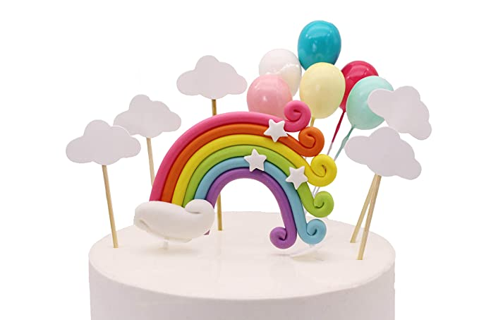 Colorful Rainbow Cake Topper Birthday Wedding Cake Flags Cloud Balloon cake flag Birthday Party Baking Decoration Supplies