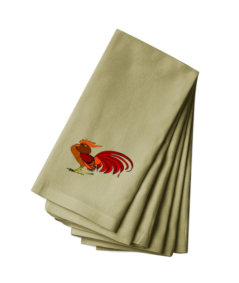 Style in Print Cotton Canvas Dinner Napkin Set Of 4 Rooster Animal Image By