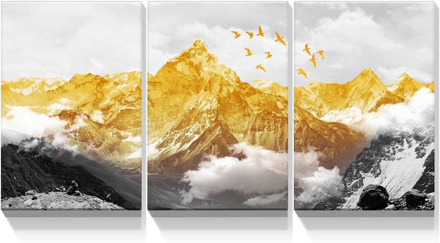 Looife 3 Panel Canvas Wall Art for Living Room - 3 Piece 30x40 Inch Black and White Mountain with Gold Peak and Birds Abstract Artwork Prints Landscape Picture Wall Decor