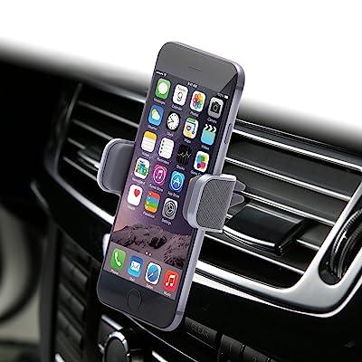Dash Crab Mono, Genuine Leather Cell Phone Car Mount, Luxury Premium Air Vent Car Mount Holder Cradle for iPhone 7 Plus 6 6s Plus Samsung Galaxy S7 S6 Edge Note 5, Universal Grip, Retail Pack (Grey)