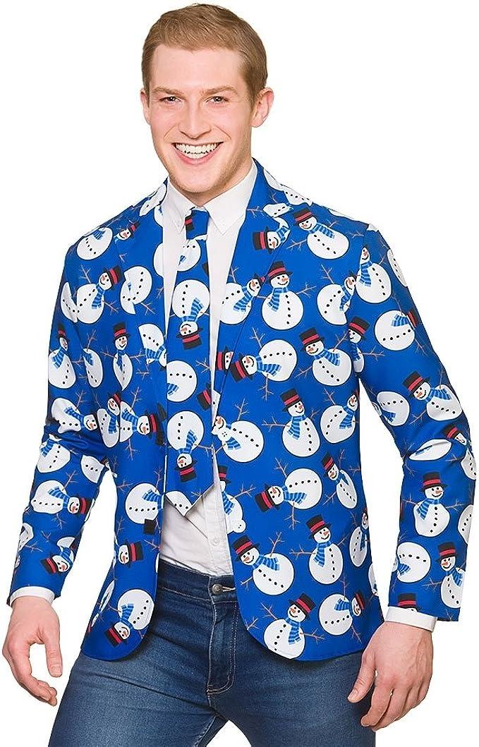 Wicked Costumes Adult Blue Snowman Christmas Jacket /& Tie Fancy Dress
