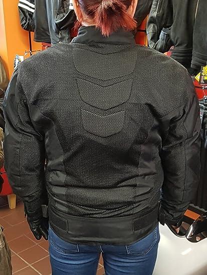 da donna con rete traspirante con fodera impermeabile e termica rimovibile Giacca protettiva da moto colore: nero