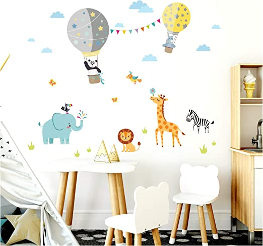 Little Deco Aufkleber Kinderzimmer Junge Zoo Tiere Im Heissluftballon I Wandbild M 102 X 63 Cm Bxh I Wandbilder Wandtattoo Herzen Tiere Deko Sticker Dl341 Amazon De Kuche Haushalt