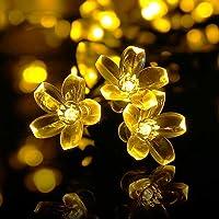 Qedertek Luces de Navidad Solares, Guirnalda Luces exterior 7M 50 LED, Cadena Luz Solar de flor, Guirnalda Luminosa Impermeable, Luces Decoración Blanco Calido para Arbol de Navidad, Jardín