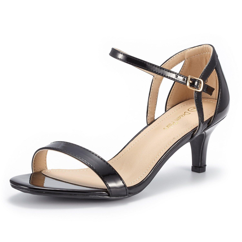 DREAM PAIRS Women's LEXII Black Pat Fashion Stilettos Open Toe Pump Heel Sandals Size 6.5 B(M) US