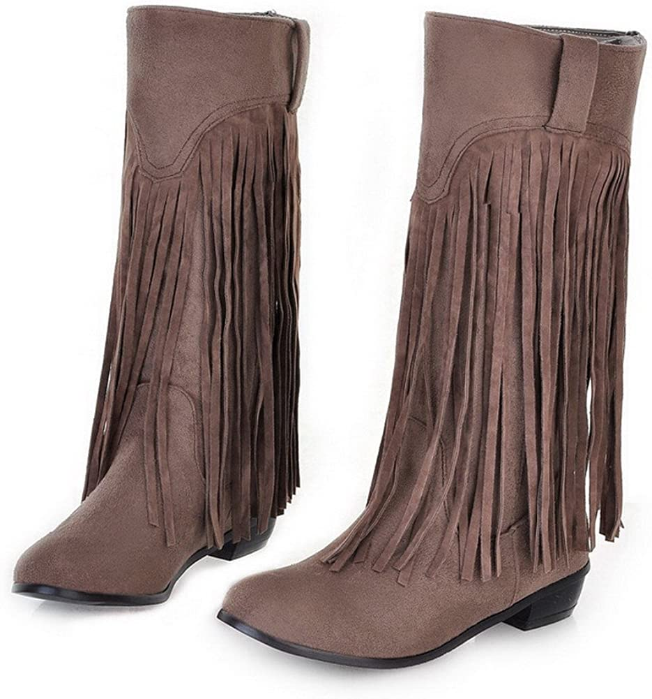 VogueZone009 Womens Closed Round Toe Low Heel PU Frosted Short Plush Solid Boots with Tassels