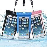 Custodia impermeabile, 3 Pack UkCoco sacchetto impermeabile universale per il rafting, kayak, nuoto, canottaggio, pesca, sci Progettato con iPhone 6 6S Plus SE, Galaxy S6 S7 Edge
