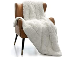 Mr.Sandman Shaggy Sherpa Weighted Blanket, Decorative Soft Fuzzy Fluffy Faux Fur Throw Blanket for Couch Sofa and Twin/Full S