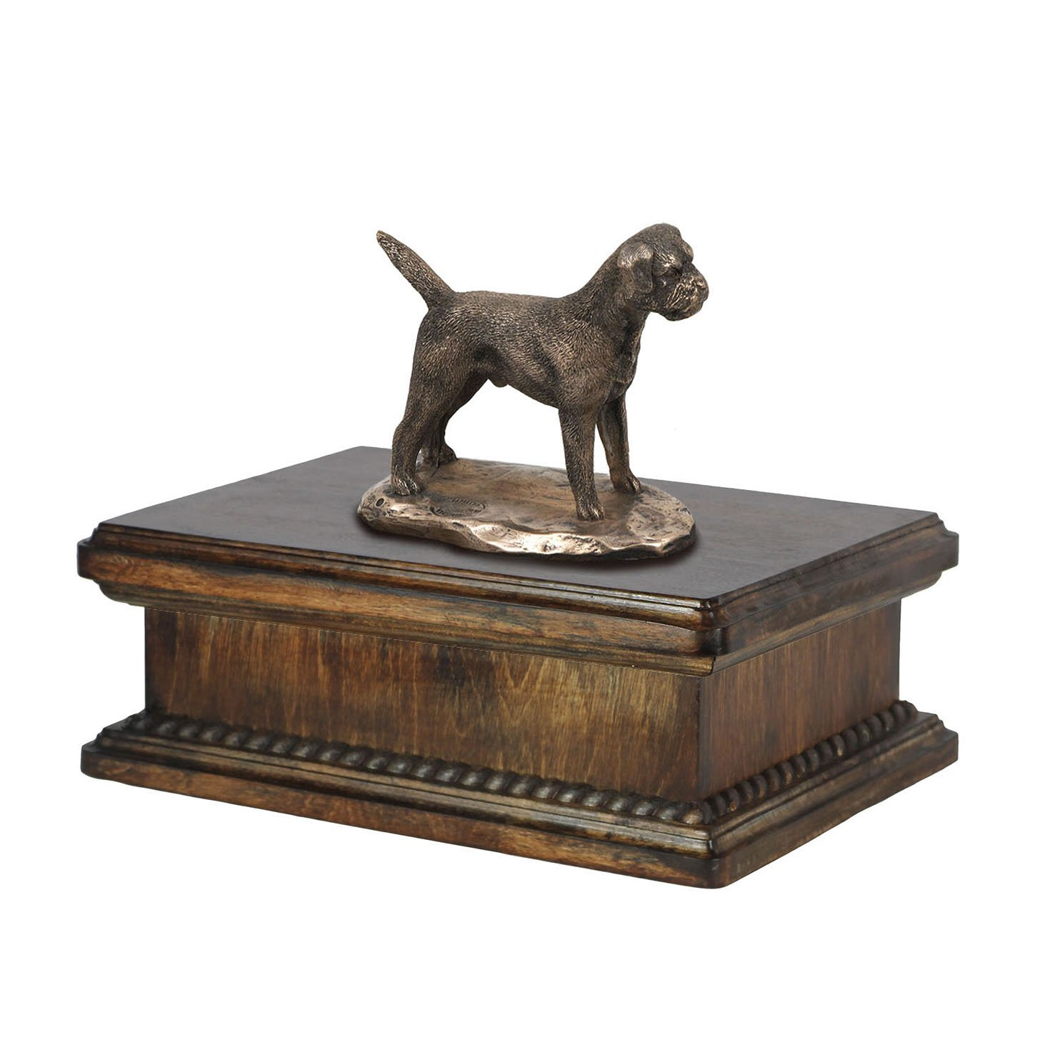 Border Terrier, memorial, urn for dog's ashes, with dog statue, exclusive, ArtDog