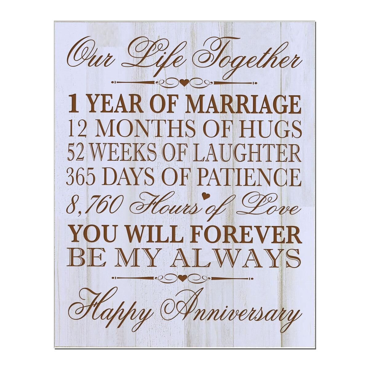 LifeSong Milestones 1st Wedding Anniversary Wall Plaque Gifts for Couple, 1st for Her,1st Wedding for Him 12'' W X 15'' H Wall Plaque By (Distressed Wood)