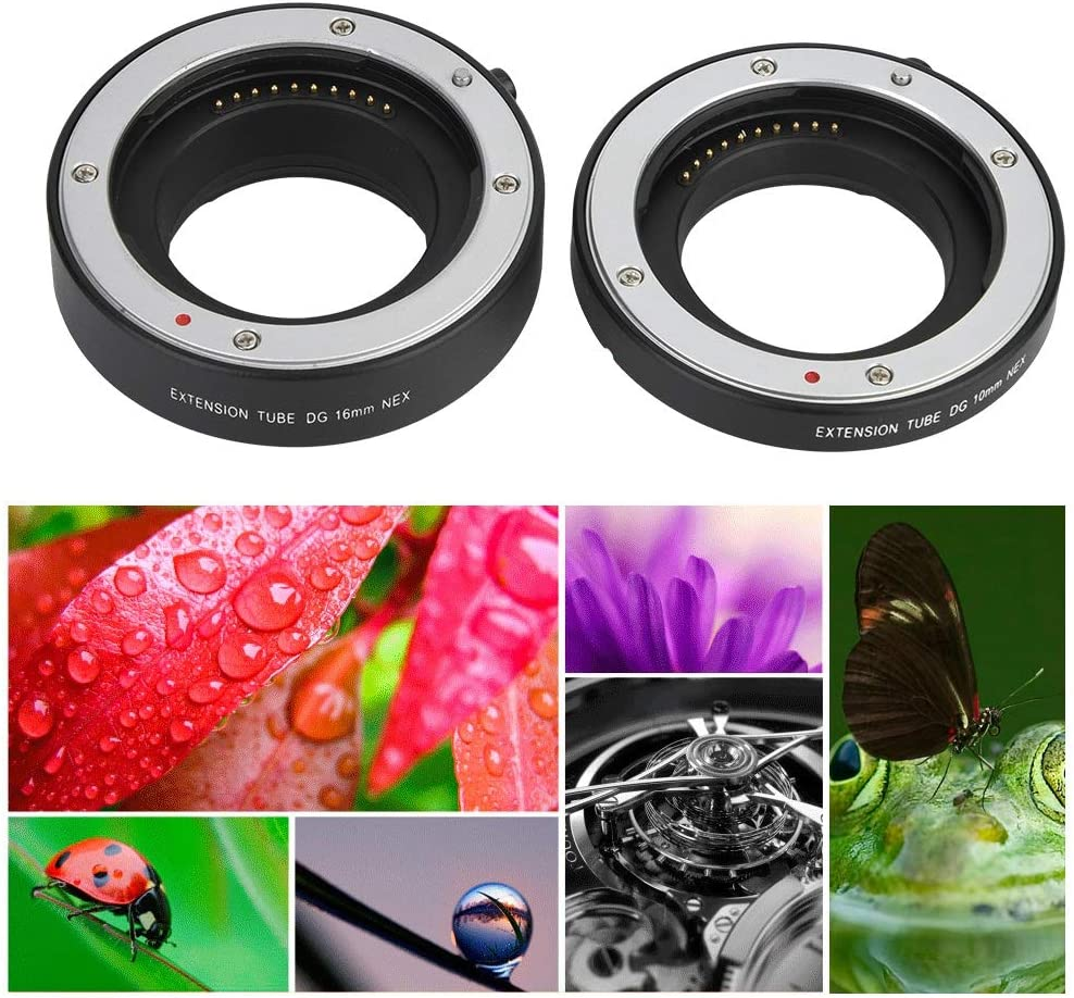 Qiilu Macro Extension Tube,10+16mmsh Lens Adapter Macro Extension Tube Ring Set for Snoy E-mout NEX NEX-6 A7R A3000 Camera