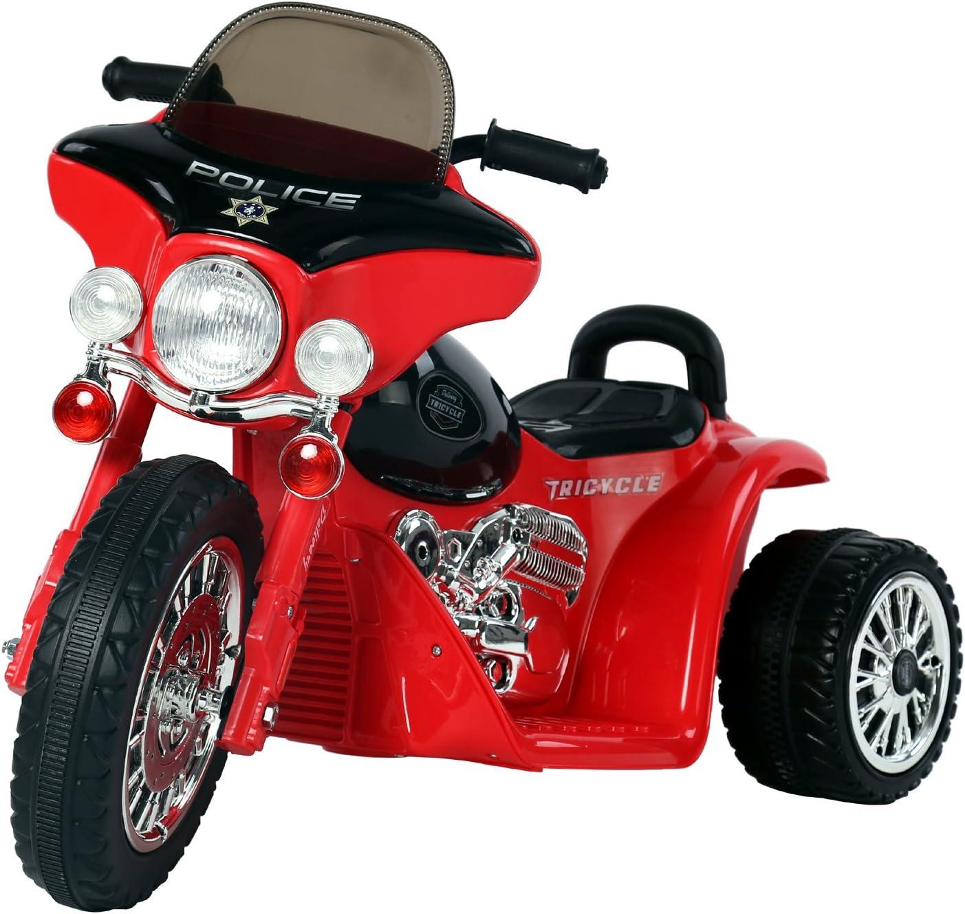 HOMCOM Moto Eléctrica Infantil Coche Triciclo Correpasillos a Batería Niños 18-36 Meses 6V Metal + PP 80x43x54.5cm Rojo