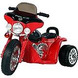Homcom Moto Eléctrica Infantil Coche Triciclo Correpasillos a Batería Niños 3-8 años 6V Metal + PP 80x43x54.5cm Rojo