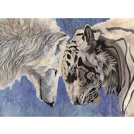 zxddzl Bricolaje Pintura Animal Lobo Acrílico Pintura 18 40 ...