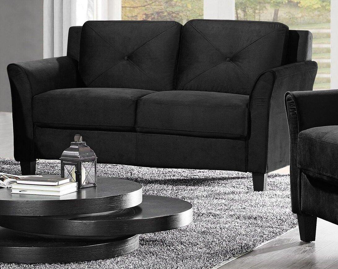 Pearington Merango Microfiber Living Room Loveseat Sofa Chair, Black