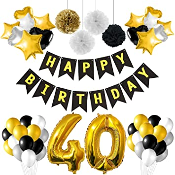 TUPARKA 40th Birthday Party Decorations Black And Gold With Banner Foil Balloons Paper