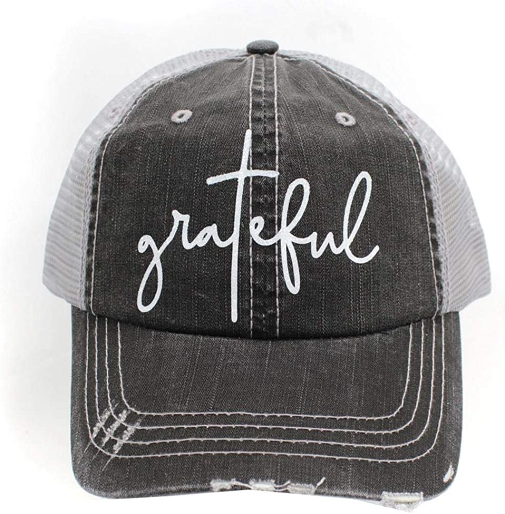 R2N fashions Grateful Women's Distressed Trucker Hats Caps Grey/White