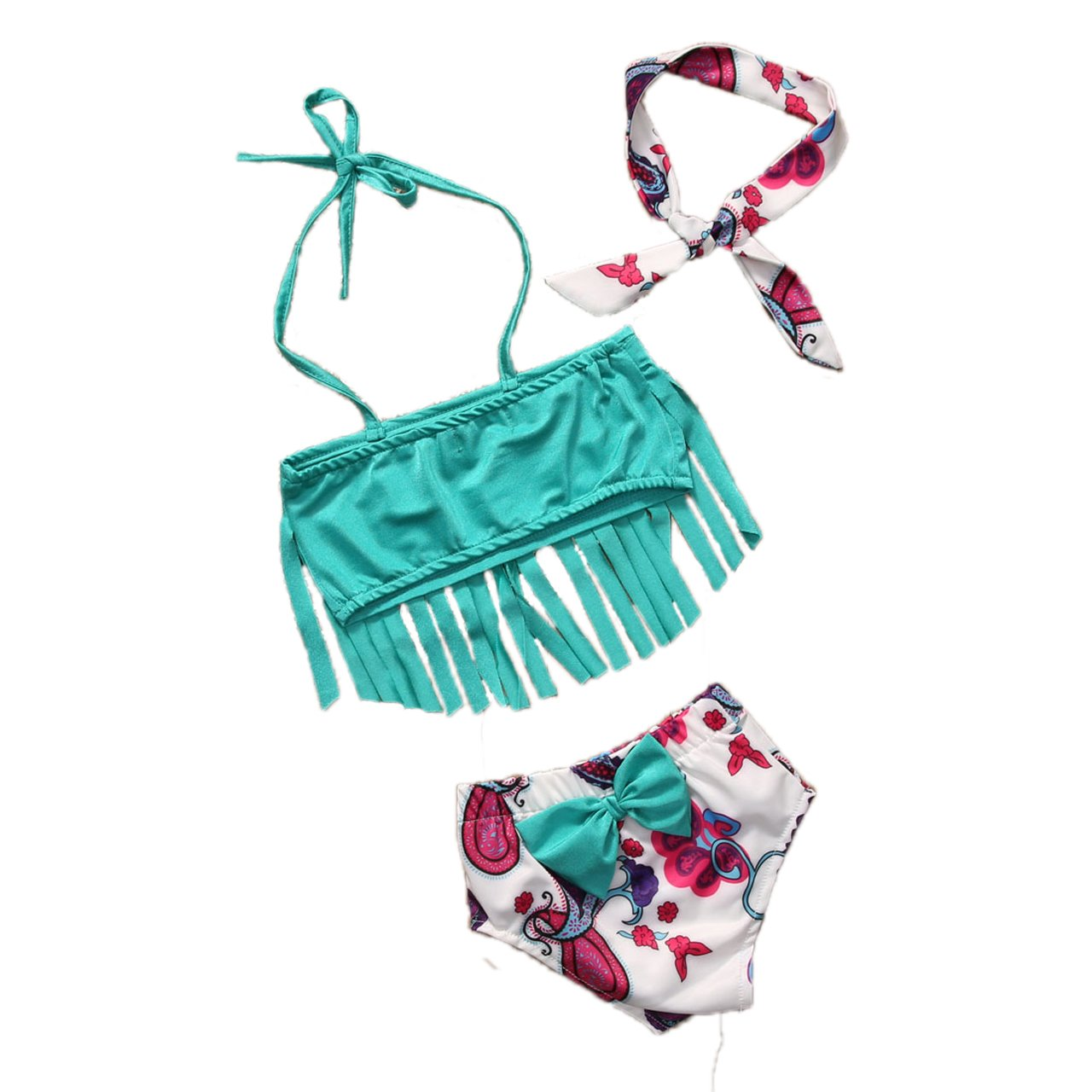 hirigin Baby Girls 3 Pcs Swimwear Tassels Halter Top+Floral Bottom+Headband Swimsuit