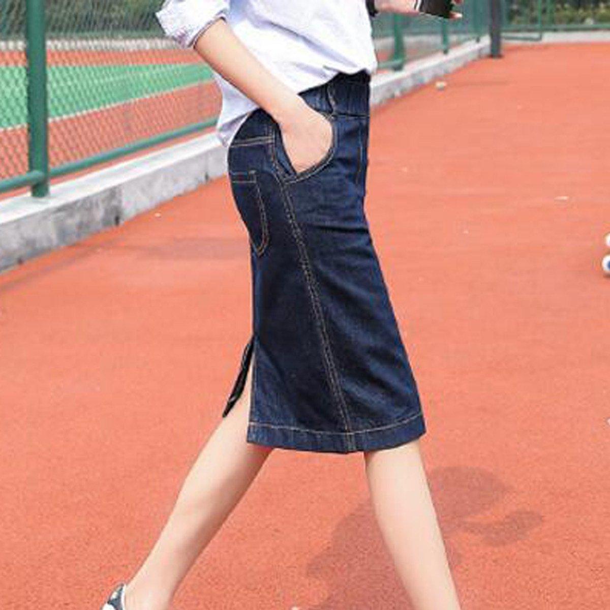 93485169db Moda Primavera Denim Lápiz Falda Para Mujeres Cintura Elástica Falda  Delgada Verano Más Tamaño Faldas Cortas