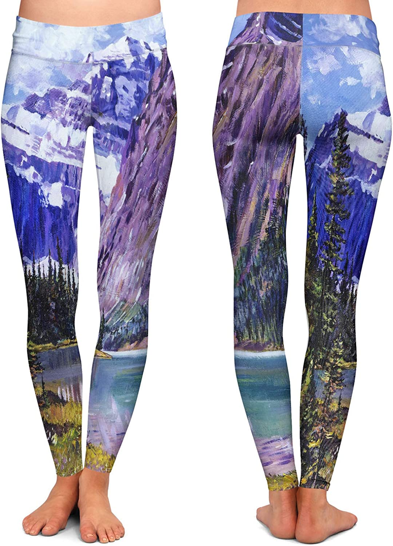Grandeur of The Rockies Athletic Yoga Leggings from DiaNoche Designs by David Lloyd Glover