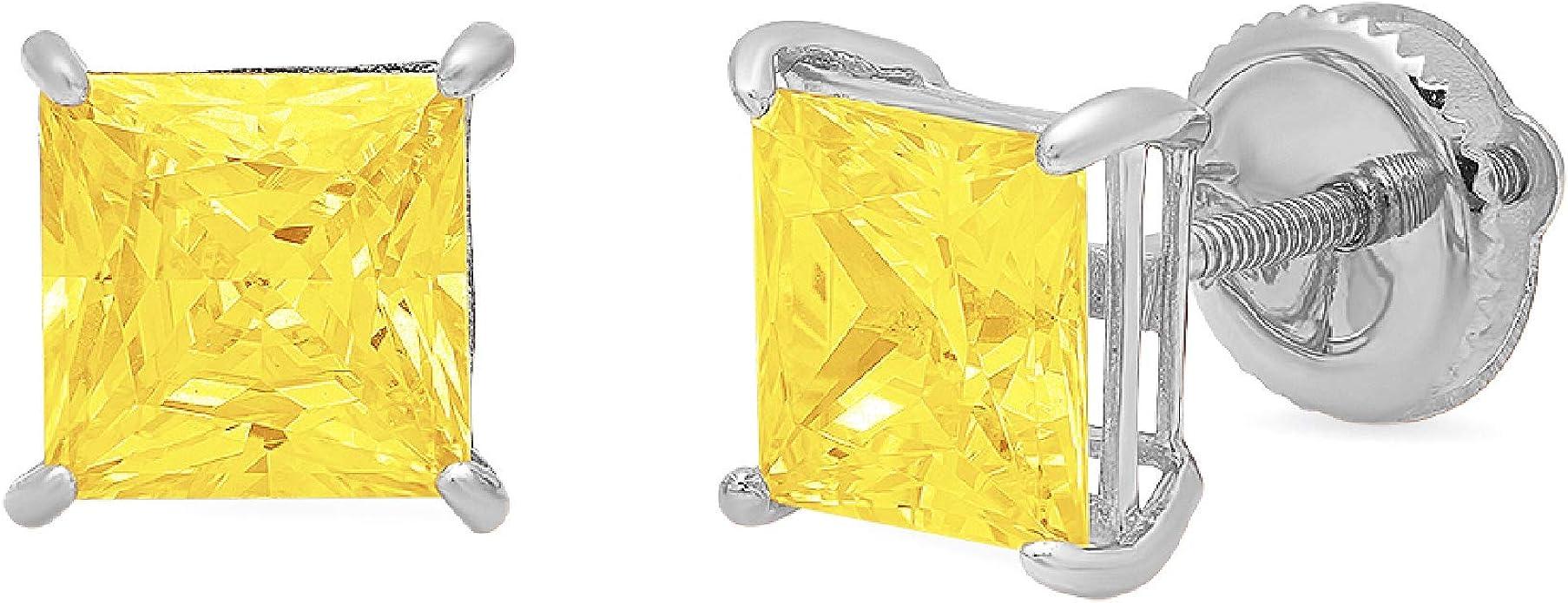 Canary Yellow Princess Cut CZ Screwback Gold Stud Earrings