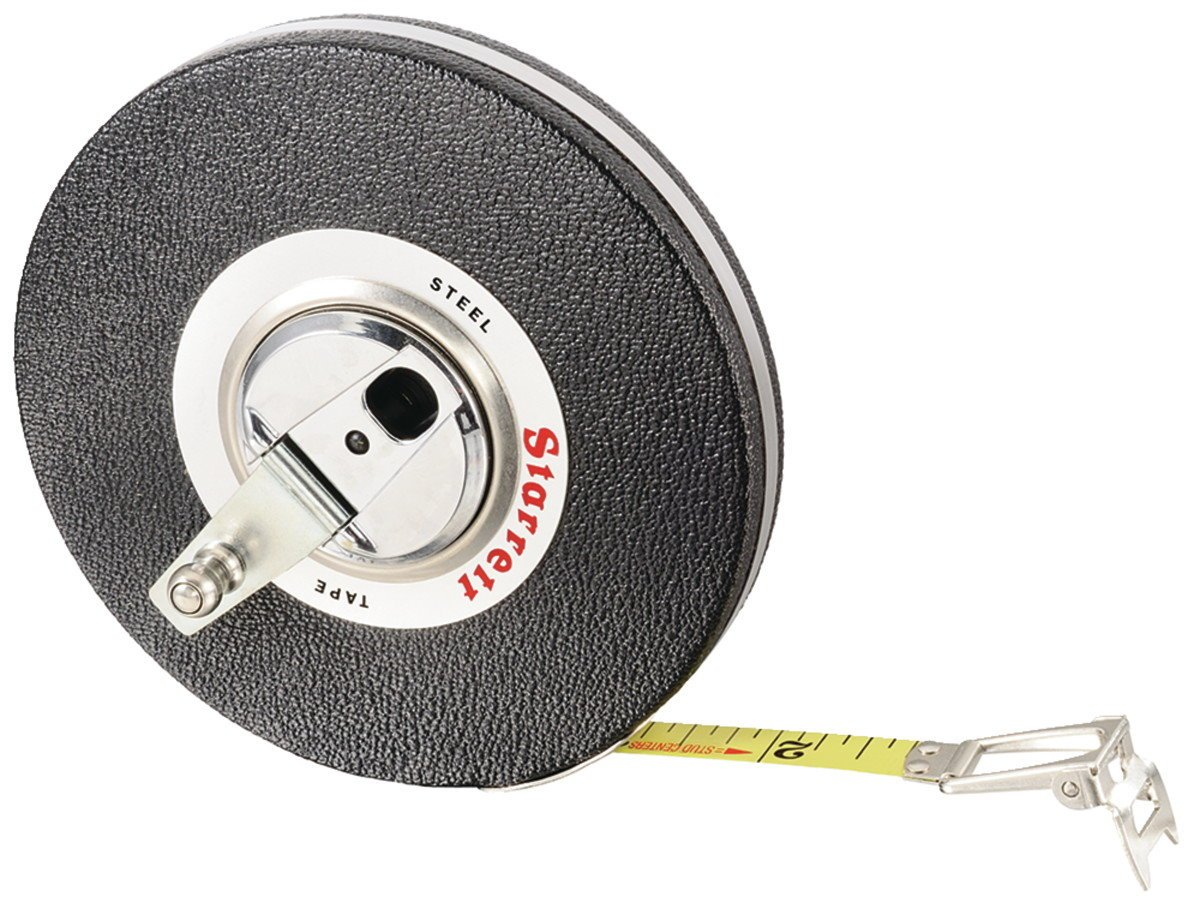 Starrett 530-100 3/8'' x 100' Closed Reel Steel Long Tape Measure Steel Case (65946)