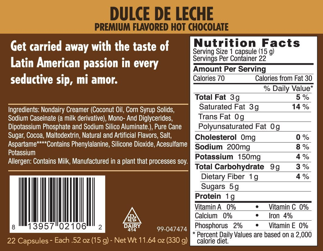Crazy Cups Seasonal Hot Chocolate, Dulce De Leche Hot Chocolate Hot Cocoa, Single Serve Cups for Keurig K Cup Brewers, 22 Count: Amazon.com: Grocery ...