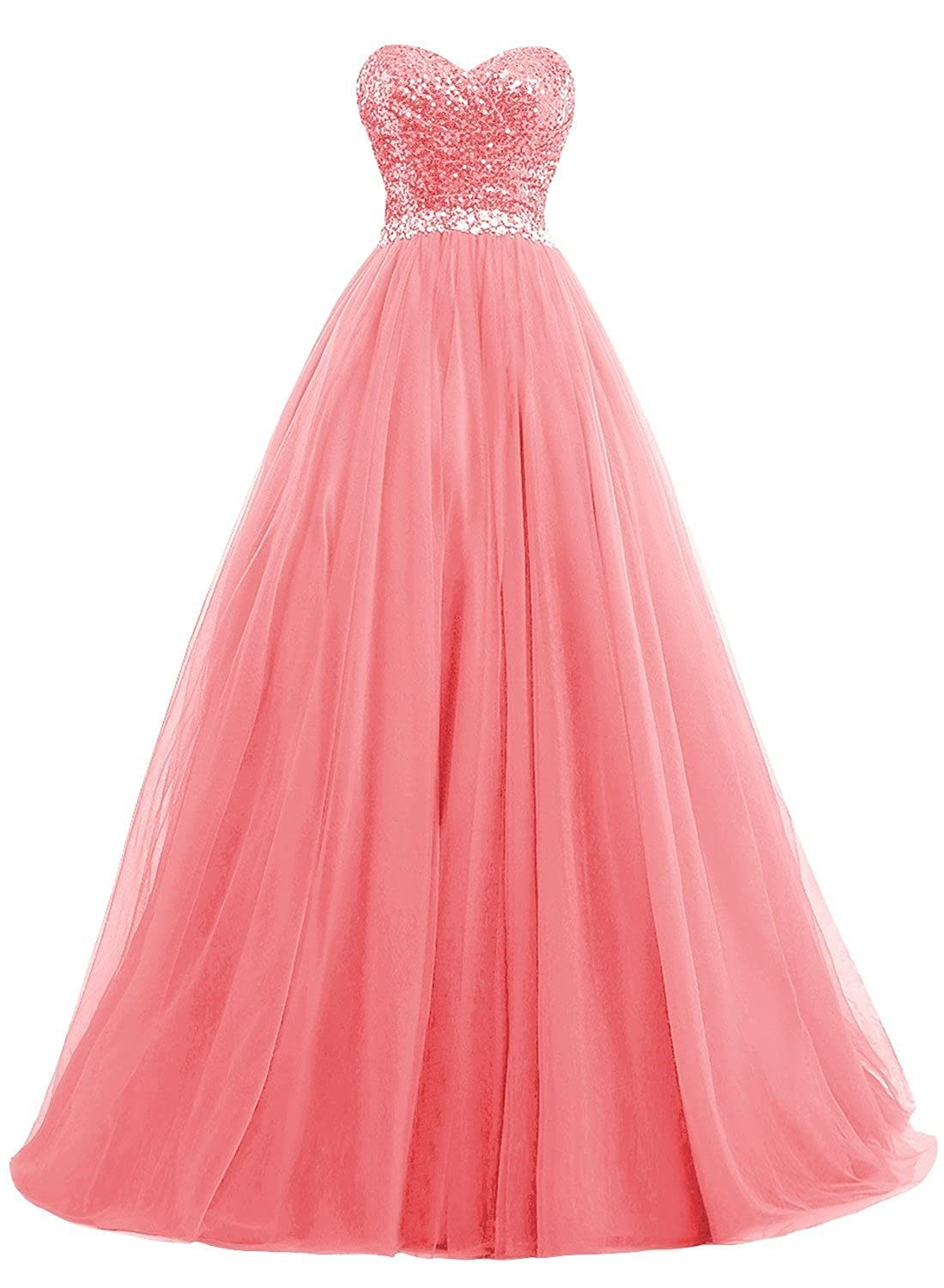 Coral Fanciest Women's Sweet 16 Tulle Sequin Ball Gown Prom Dresses for Quinceanera