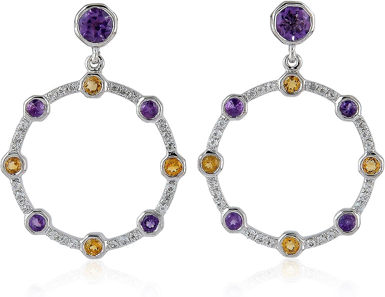 Xmas Lady Fashion Jewelry Pear Cut Purple Amethyst White Gold Gp Dangle Earrings