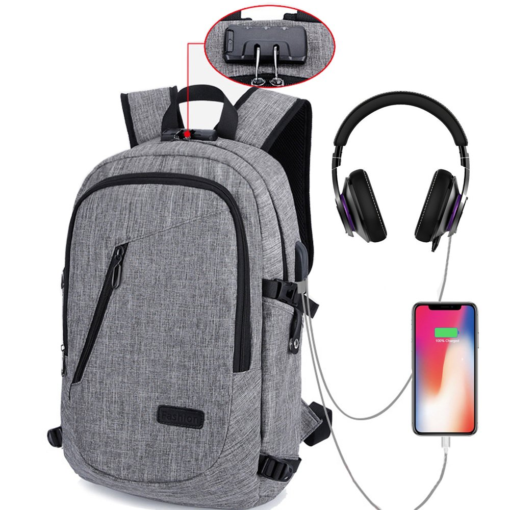 HITOP Laptop Backpack Bookbags, Anti Theft Waterproof Cute School Bag with USB Charge and Headphone Port