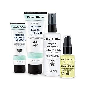 Dr. Mercola Organic Nighttime Skincare Set, non GMO, Gluten Free, Soy Free, USDA Organic and Organic Leaping Bunny Certified