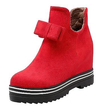 45b2788f102259 Damen keilabsatz Stiefeletten Ankle Boots mit Reißverschluss und Fell Warm  Winter Schuhe UH Erscheinungsdaten Verkauf Online