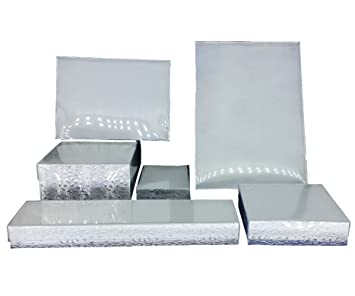 Amazoncom Silver Foil with Clear Top Cotton Filled Jewelry Boxes