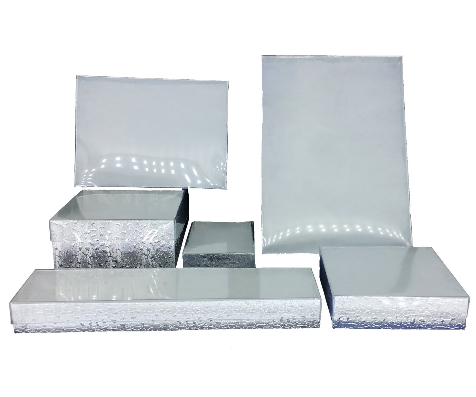 Silver Foil with Clear Top Cotton Filled Jewelry Boxes (50, 8'' x 2'' x 1''H)